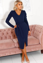 Navy Puff Sleeve Midi Dress
