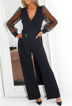 Black Mesh Sleeve Jumpsuit