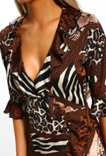 Brown Animal Print Frill Detail Dress