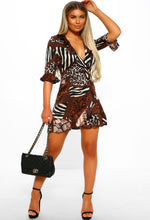 Mixed Animal Print Mini Dress
