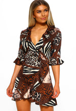 Brown Animal Print Mini Dress