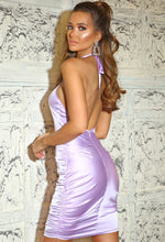 Lilac Halter Neck Mini Dress