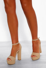Nude Block Heeled Sandals - Front View
