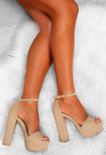 Nude Block Heel Platforms - Above View