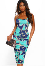 Blue Chain Printed Midi Dress - Front View