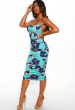Blue Chain Print Ruched Midi Dress - Full Length View