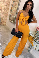 Mustard Knot Front Jumpsuit - Front with Background