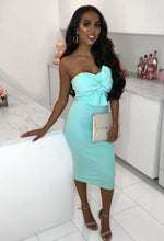 Mint Tie Front Strapless Midi Dress