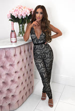 Black Lace Plunge Jumpsuit - Front with Background
