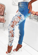 Blue Skinny Jeans with Lace Insert