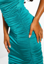 Jade Green Ruched Midi Dress