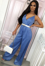 Blue Satin Wide Leg Jumpsuit - Front with background