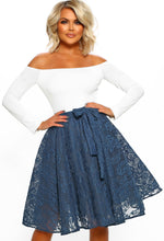 Ladies Club Navy Lace Midi Skater Skirt