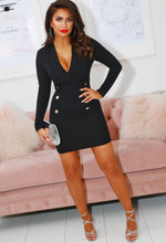 Black Plunge Blazer Dress