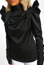 Shoulder Detail Black Blouse