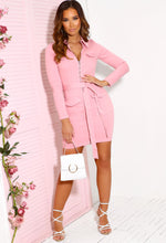 Pink Zip Front Denim Dress