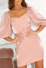 Pink Puff Sleeve Mini Dress