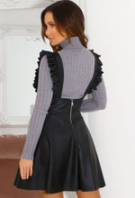 Black Faux Leather Frill Skirt