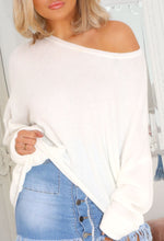 Off Shoulder White Knit Top