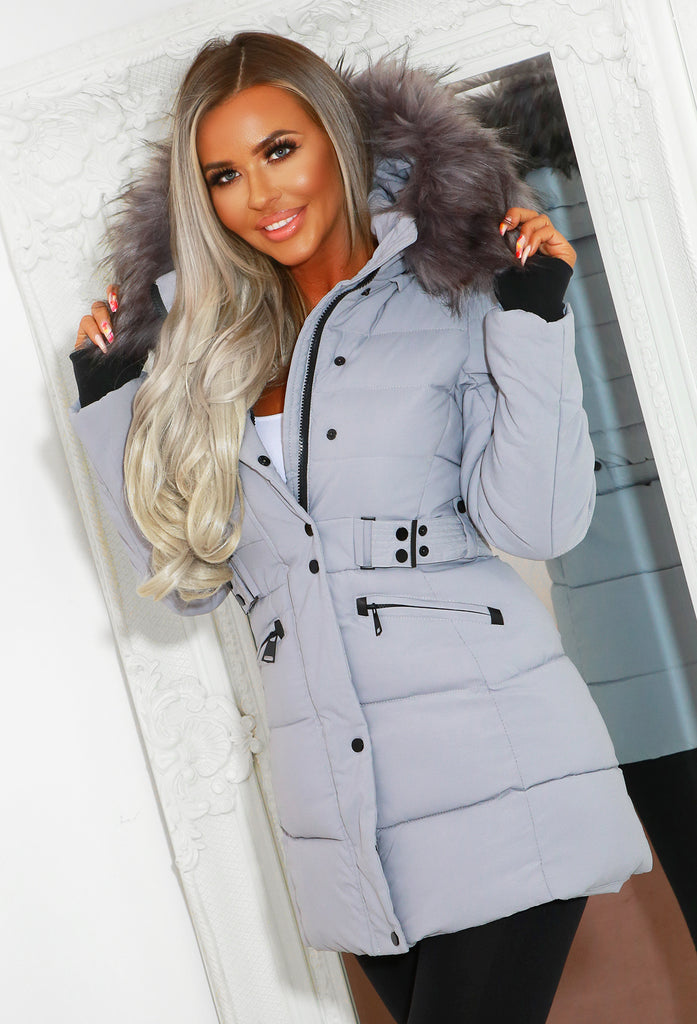Isla Grey Padded Longline Coat With Fur Hood Detail by Pink Boutique