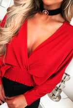 Red Plunge Neckline Top