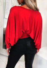 Red Batwing Sleeve Top - Back View