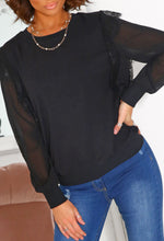 Black Mesh Sleeve Sweatshirt