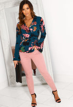 Long Sleeve Floral Wrap Top