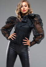 Black Mesh Sleeve Blouse