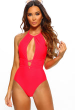 Adelaide Neon Red Cut Out Tie Waist Swimsuit