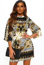 Multi Printed Frill Mini Dress - Front View