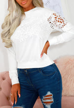 Lillie White Soft Sweatshirt With Crochet Lace Detail