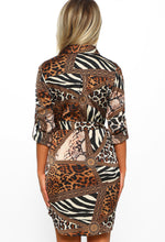 Animal Print Long Sleeve Shirt Dress - Back View