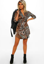 Animal Print Long Sleeve Shirt Dress - Full front view