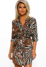 Animal Print Long Sleeve Shirt Dress - front View