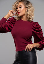 Satin Sleeve Top in Red