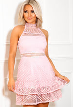 Pink High Neck Mini Dress