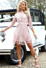 Lyra Blush Pink High Neck Long Sleeved Crochet Dress