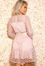 Crochet Mini Dress in Pink
