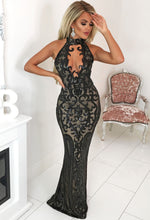 Sequin Plunge Choker Maxi Dress - Front View with Background