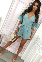 Melrose Beauty Powder Blue Tie Waist Wrap Playsuit