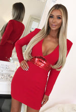 Red Sequin Long Sleeve Bodycon Mini Dress - Front view with Background