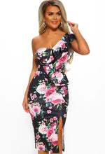 Black Floral Frill One Shoulder Midi Dress - Front View