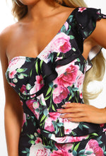Black Floral Frill One Shoulder Midi Dress - Detail Closeup