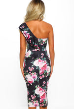 Black Floral Frill One Shoulder Midi Dress - Back View