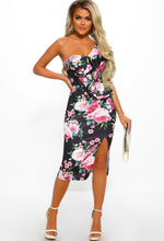 Black Floral Frill One Shoulder Midi Dress - Full Front View