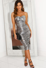 Silver Ruched Slinky Midi Dress