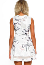 Yes Please Grey Floral Mini Skater Dress