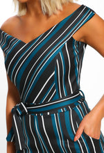 Your Muse Green Multi Striped Bardot Culotte Jumpsuit