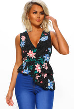 Flower Hungry Multi Floral Sleeveless Frill Top